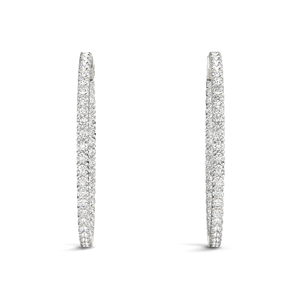 Inside Outside Diamond Hoop Earrings, Core Lock, 1.5