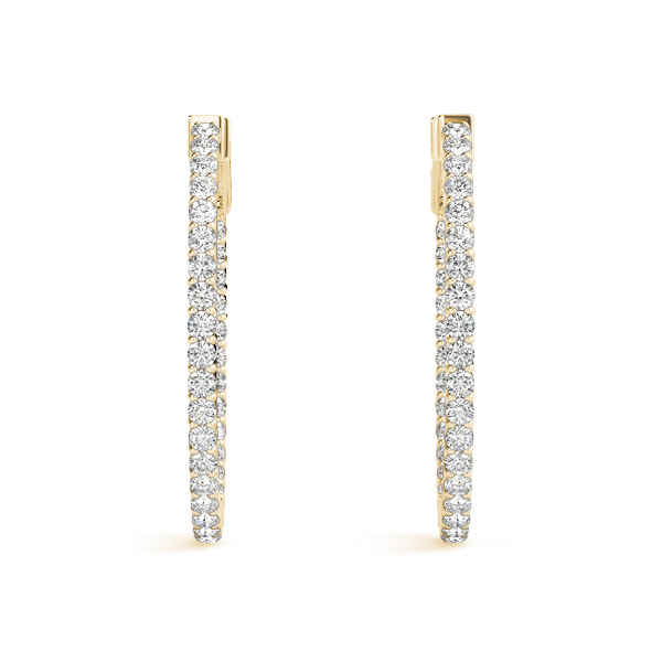 Oval Inside Outside Diamond Hoop Earrings, Core Lock in Yellow Gold, 1.25