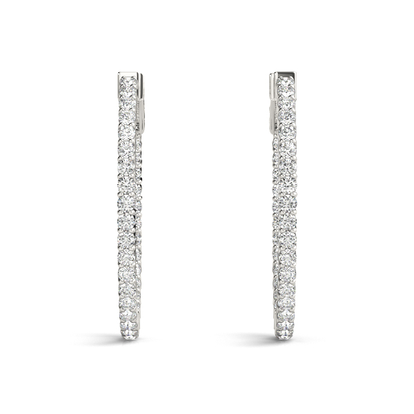 Oval Inside Outside Diamond Hoop Earrings, Core Lock, 1.25