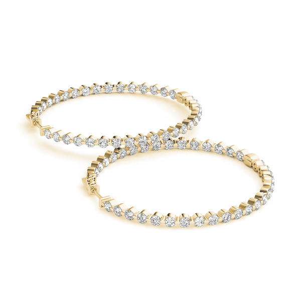 Inside Outside Diamond Hoop Earrings, Core Lock, in Yellow Gold 1.5