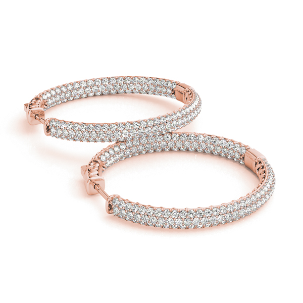 Etoil Inside Outside Diamond Hoop Earrings, Core Lock, in Rose Gold 1.5