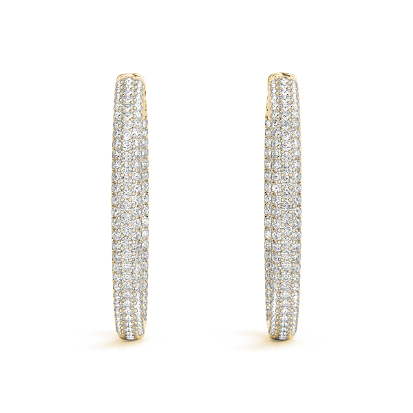 Etoil Inside Outside Diamond Hoop Earrings, Core Lock, in Yellow Gold 1.5