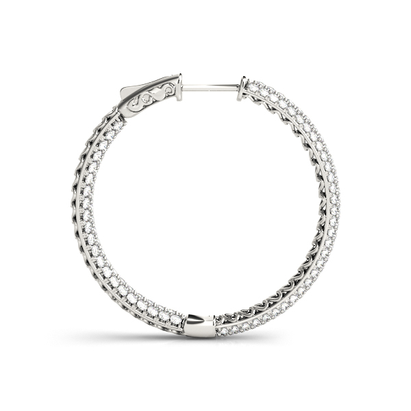 Etoil Inside Outside Diamond Hoop Earrings, Core Lock, 1.5