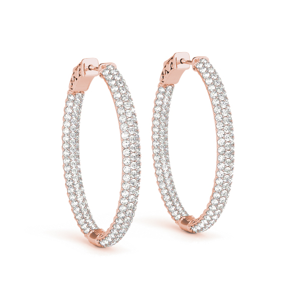 Oval Etoil Inside Outside Diamond Hoop Earrings, Core Lock, in Rose Gold 1.5