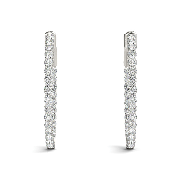 Trellis Inside Outside Diamond Hoop Earrings, Core Lock, 1