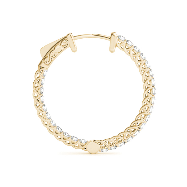Trellis Inside Outside Diamond Hoop Earrings, Core Lock in Yellow Gold, 1