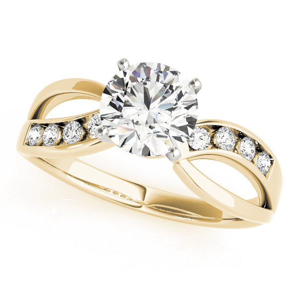 Swirl Channel Diamond Engagement Ring Yellow Gold