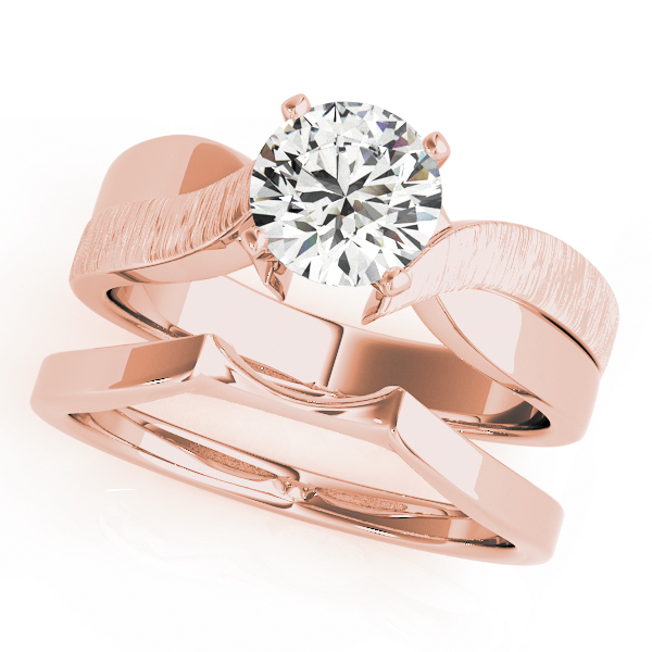 Brushed Swirl Solitaire Bridal Set Rose Gold