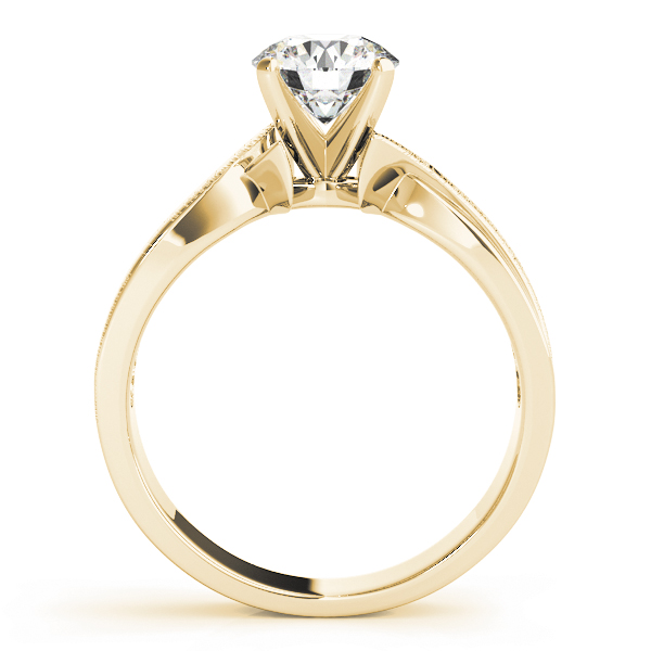 Brushed Swirl Solitaire Engagement Ring Yellow Gold