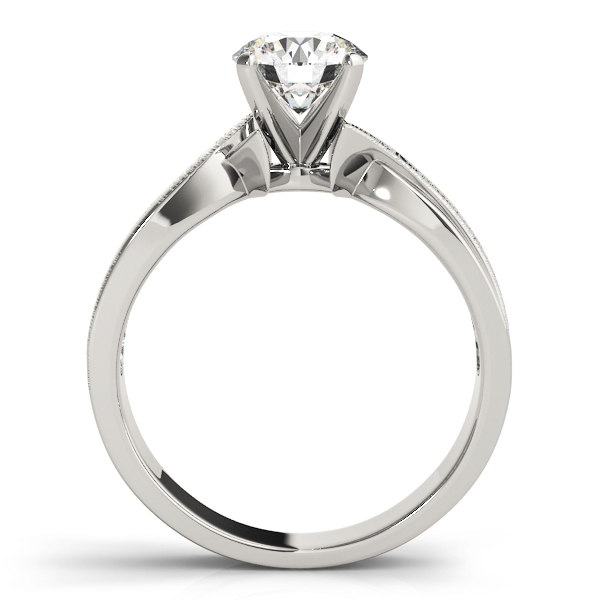 Brushed Band Swirl Solitaire Engagement Ring