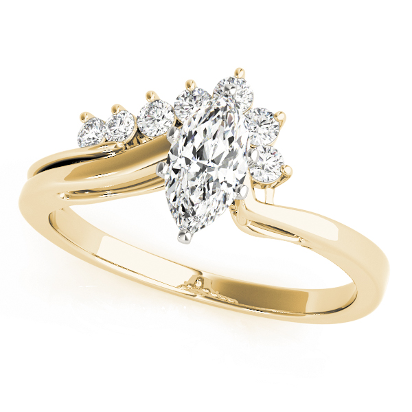 Marquise Diamond Swirl Engagement Ring in Yellow Gold