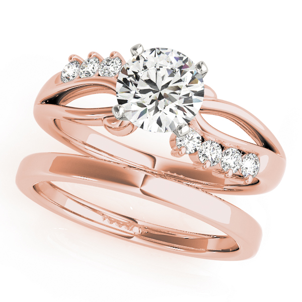 Swirl Infinity Diamond Bridal Set Rose Gold