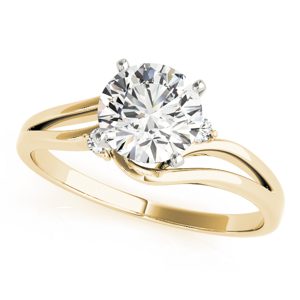 Swirl Split Band Solitaire Engagement Ring in Yellow Gold