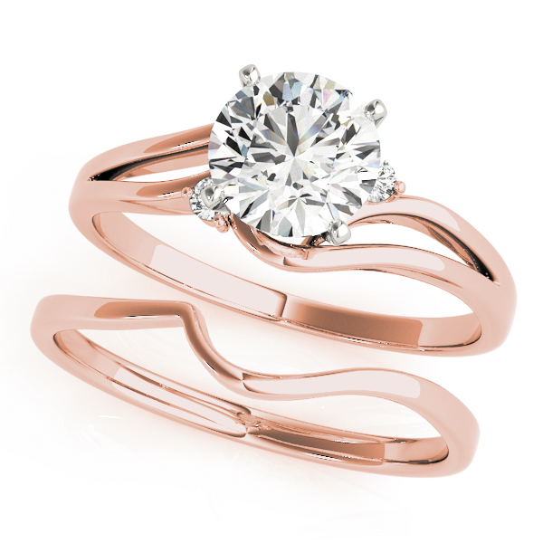 Swirl Split Band Solitaire Engagement Ring & Wedding Band in Rosa Gold