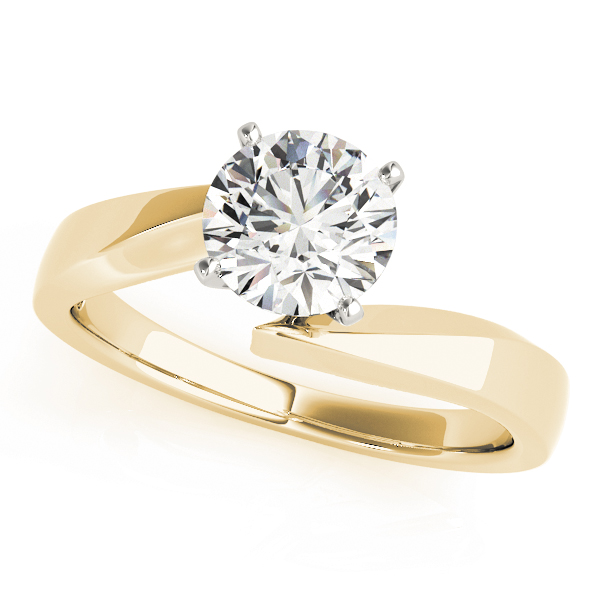 Solitaire Swirl Diamond Engagement Ring in Yellow Gold