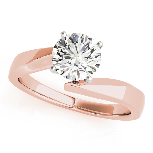 Solitaire Swirl Diamond Bridal Set in Rose Gold