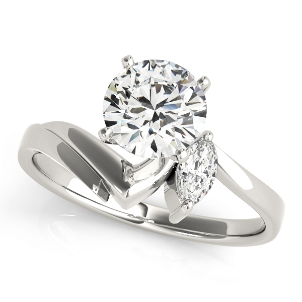 Two Diamond Marquise Swirl Engagement Ring