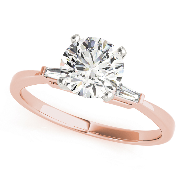 Classic Baguette Cut Diamond Bridal-Set in Rose Gold