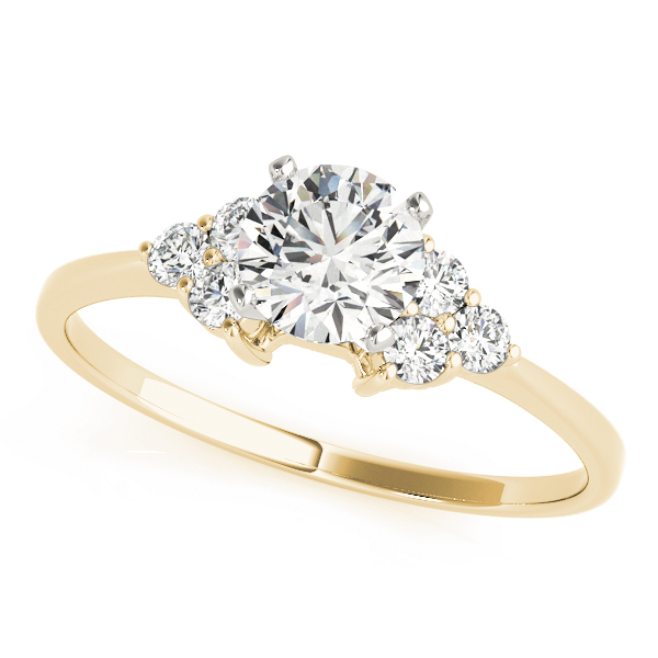 Petite Trio Cluster Engagement Ring in Yellow Gold