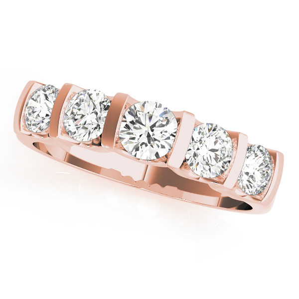 Bar Set Diamond Bridal Set with U Design in Rose Gold