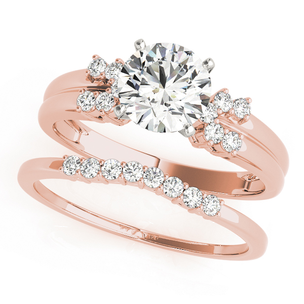 Petite Horseshoe Diamond Bridal-Set in Rose Gold