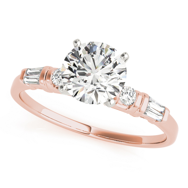 Classic Petite Round & Baguette Cut Diamond Bridal Set in Rose Gold