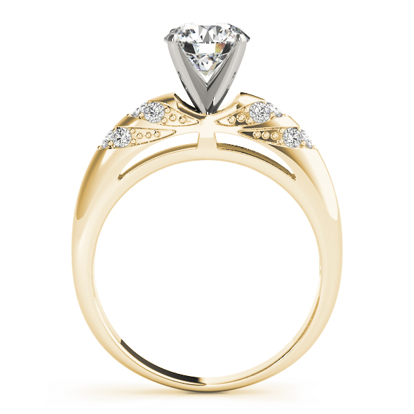Multi-Row Pave Diamond Engagement Ring in Yellow Gold