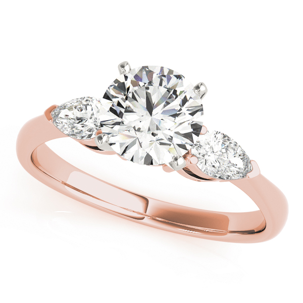 Classic Three Stone Pear Shape Diamond Bridal Set in Rose Gold