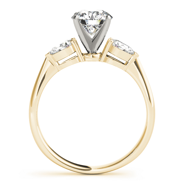 Classic Three Stone Pear Shape Diamond Engagement Ring in Yellow Gold