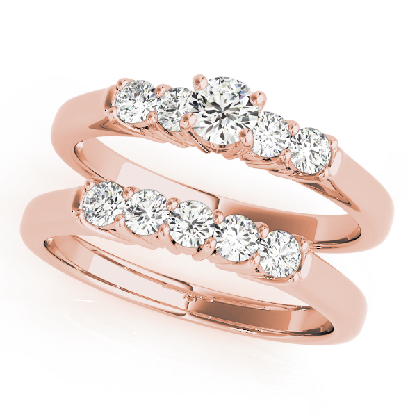 Five Stone Diamond Bridal Set with Heart Shaped Filigree in Rose Gold