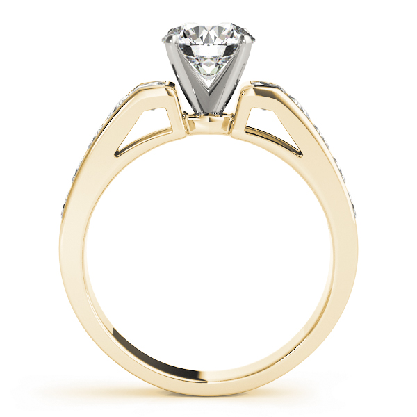 Classic Square Shoulder Channel Diamond Engagement Ring in Yellow Gold