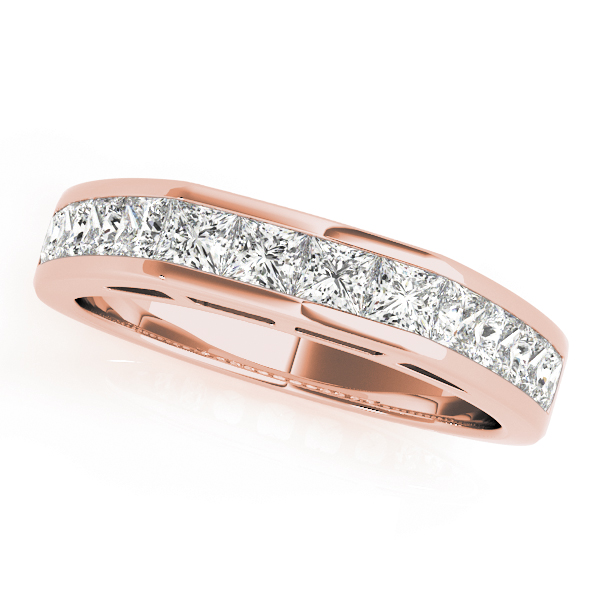 Classic Square Shoulder Channel Diamond Bridal Set in Rose Gold