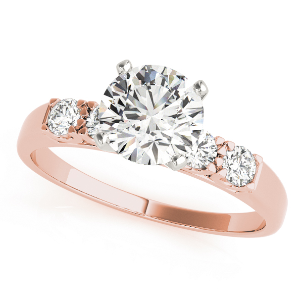 Petite U Prong Diamond Bridal Set in Rose Gold