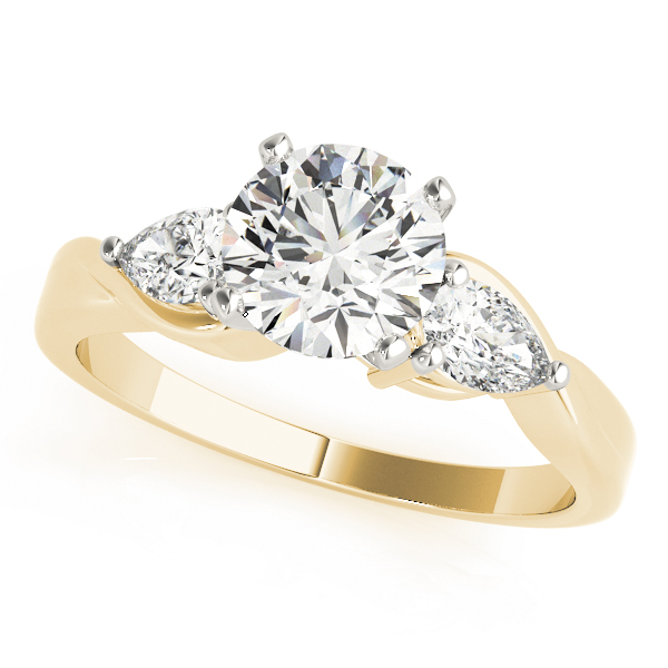 Three Stone Classic Diamond Engagement Ring with Pear Shaped Diamonds in Yellow Gold