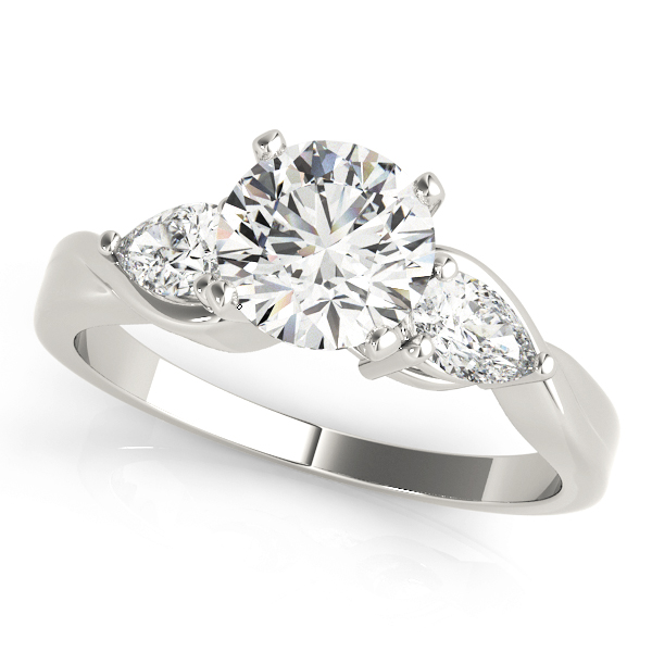 Three Stone Classic Diamond Engagement Ring with Pear Shaped Diamonds