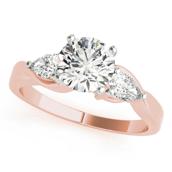 Three Stone Classic Diamond Bridal Set with Pear Shaped Diamonds in Rose Gold