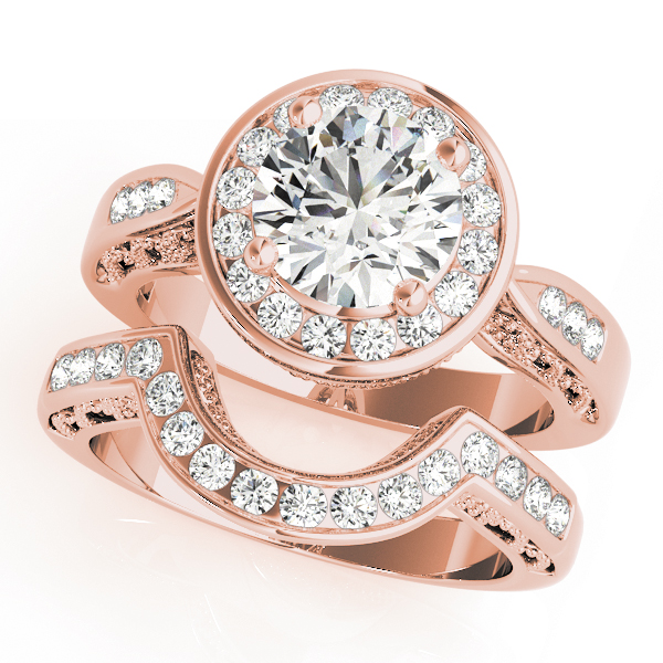 Filigree Diamond Halo Bridal Set Rose Gold