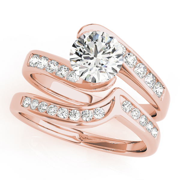Swirl Semi Bezel Diamond Bridge Bridal Set in Rose Gold