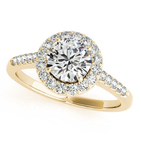 Diamond Halo Cathedral Engagement Ring Pave Band in Yellow Gold