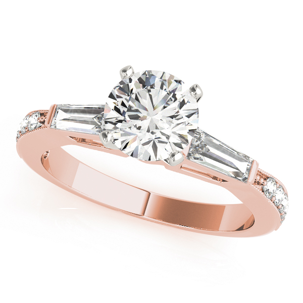 Diamond Bridal Set with Baguette & Pave Diamonds in Rose Gold