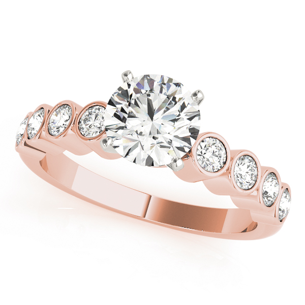Bezel Set Diamond Bridal Set in Rose Gold