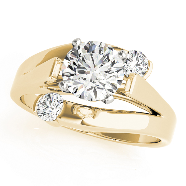 3 Diamond Bypass Swirl Engagement Ring Yellow Gold