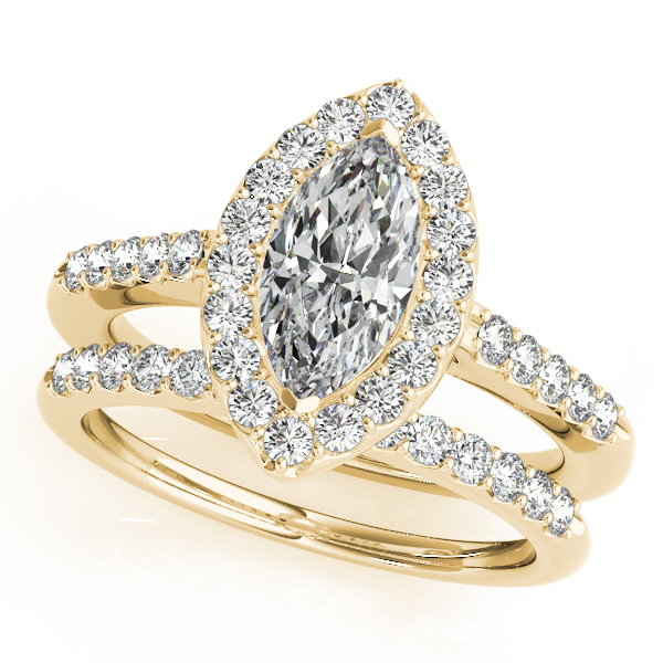 Marquise Diamond Halo Cathedral Engagement Ring Pave Band & Matching  Wedding Band In 14K Yellow Gold ...