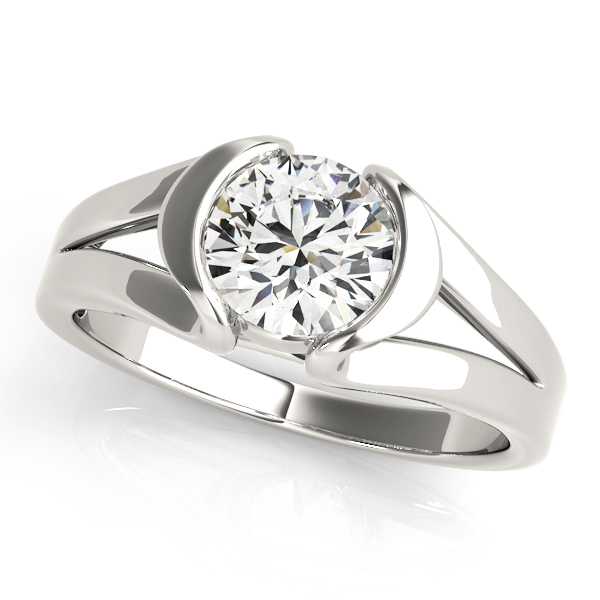 Split Band Half Bezel Engagement Ring