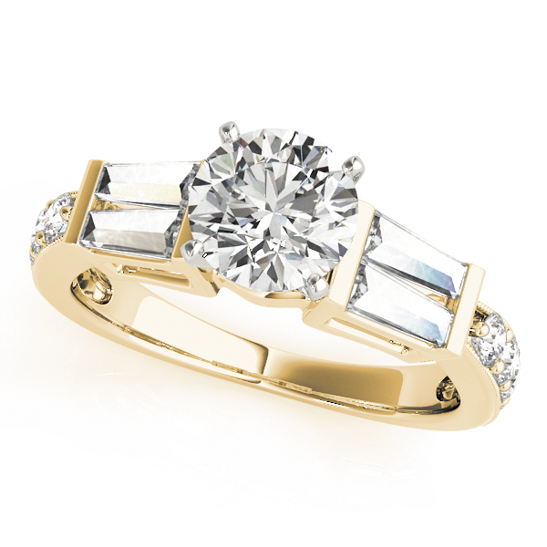 Diamond Engagement Ring with Double Baguettes & Pave Diamonds in Yellow Gold