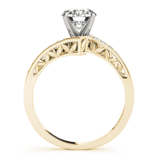 Swirl Diamond Pave Engagement Ring with Filigree Yellow Gold