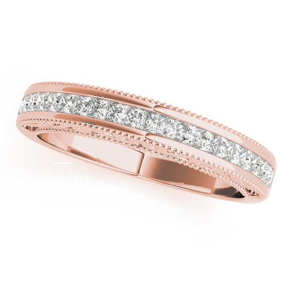 Classic Channel Set Princess Cut Diamond Bridal Set in Rose Gold