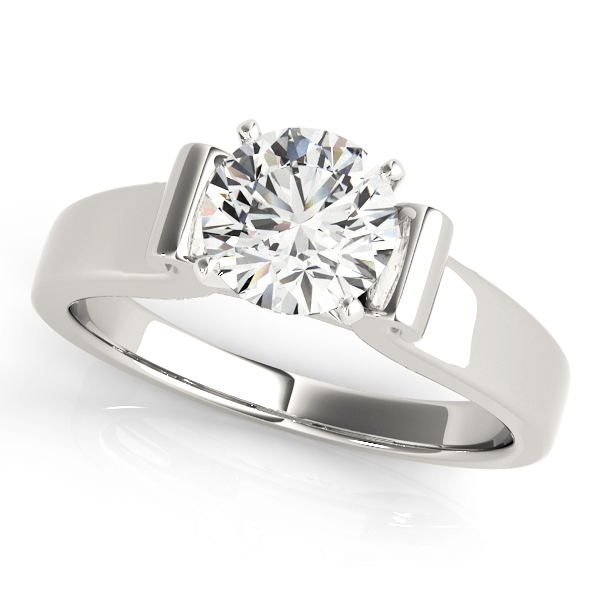 Solitaire Harp Shaped Engagement Ring