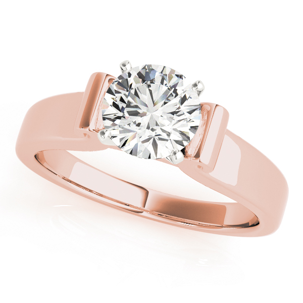 Solitaire Harp Shaped Bridal Set in Rose Gold
