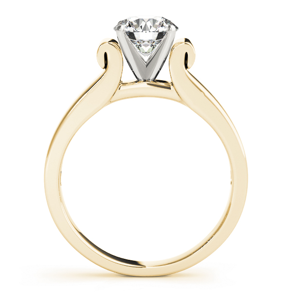 Solitaire Harp Shaped Engagement Ring in Yellow Gold